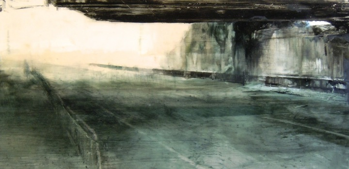 """Underpass. Oil on duralar over acrylic and collage on paper, mounted on panel, 12"""" x 24"""", 2016 