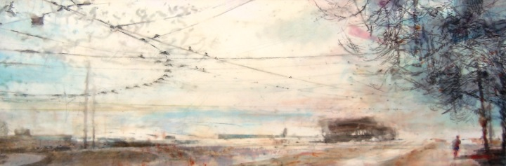 """Wires Overhead. Oil stick on duralar over acrylic and collage on panel, 12"""" x 36"""", 2016 