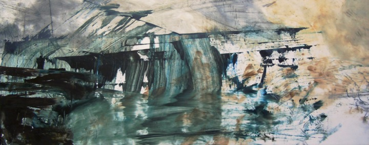 """Underpass III. Oil and oil stick on duralar over acrylic on panel, 12"""" x 30"""", 2016 