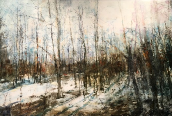"""Early Spring Woods. Oil and oil stick on duralar over acrylic and collage on panel, 24"""" x 36"""", 2016 