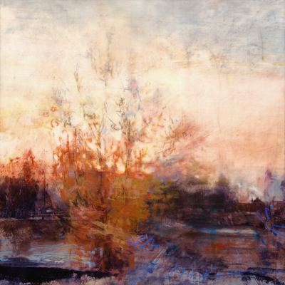 """Autumn Tree at Sunset. Oil and oil stick on duralar over acrylic and collage on panel, 12"""" x 12"""", 2017 