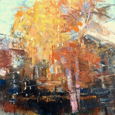 """Charley's Birch, Autumn. Oil and oil stick on duralar over acrylic on panel, 6"""" x 6"""", 2017 