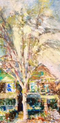 """Charley's Birch, Early Spring. Oil and oil stick on duralar over acrylic and collage on panel, 6"""" x 12"""", 2017 