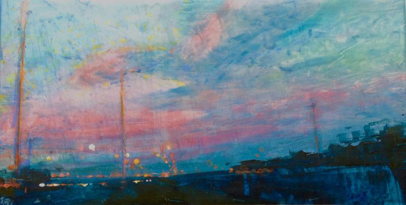 """Highway at Sunset. Oil and oil stick on duralar over acrylic and collage on panel, 6' x 12"""", 2017 