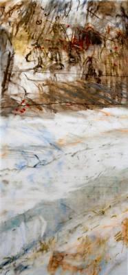 "Snow Furrows. Oil stick on duralar mounted on panel, 11.5"" x 24"", 2017 | $725"