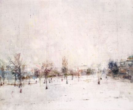 "Snowstorm, Sorauren Park. Oil on duralar over acrylic on panel, 10"" x 12"", 2017 