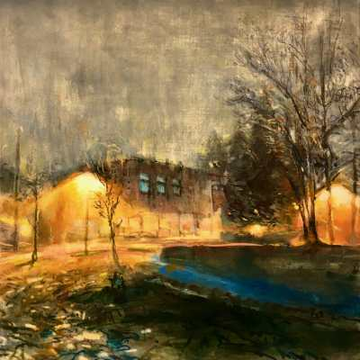 """Fog with Field House. Oil and oil stick on duralar over acrylic on panel, 20"""" x 20"""", 2018 