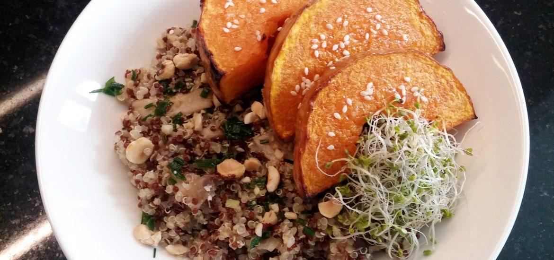 Duo de quinoa aux shiitakées et butternut rôti