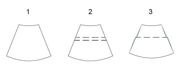Exemple d'un raccourcissement d'une jupe cercle en gardant la même ampleur de jupe