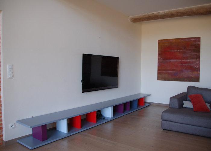 meuble tele laque etagere modulable sur mesure pied cine mobilier modulable les pieds sur la table