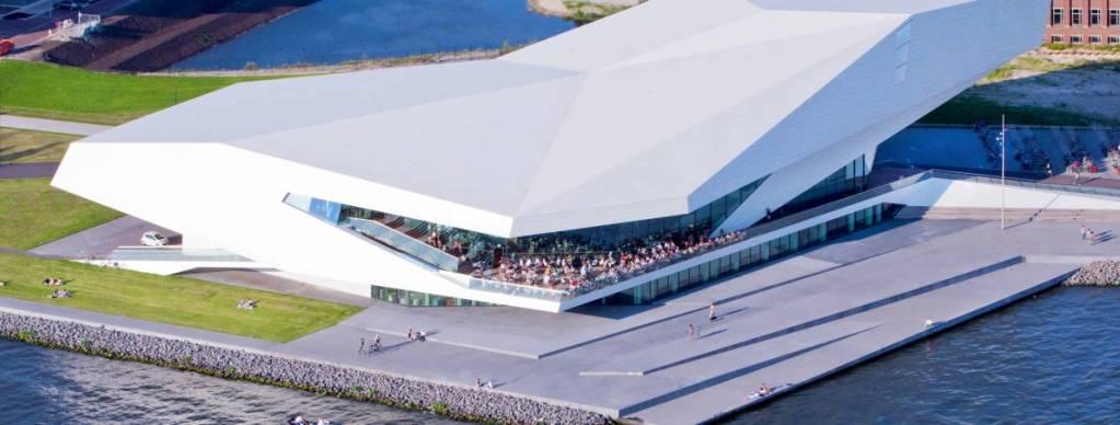 The ultra-modern, geometric building of the EYE Film Institute