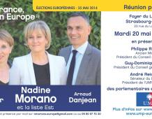 Grande réunion publique régionale avec Anne SANDER, Nadine MORANO et Arnaud DANJEAN – Mardi 20 mai 20H à STRASBOURG