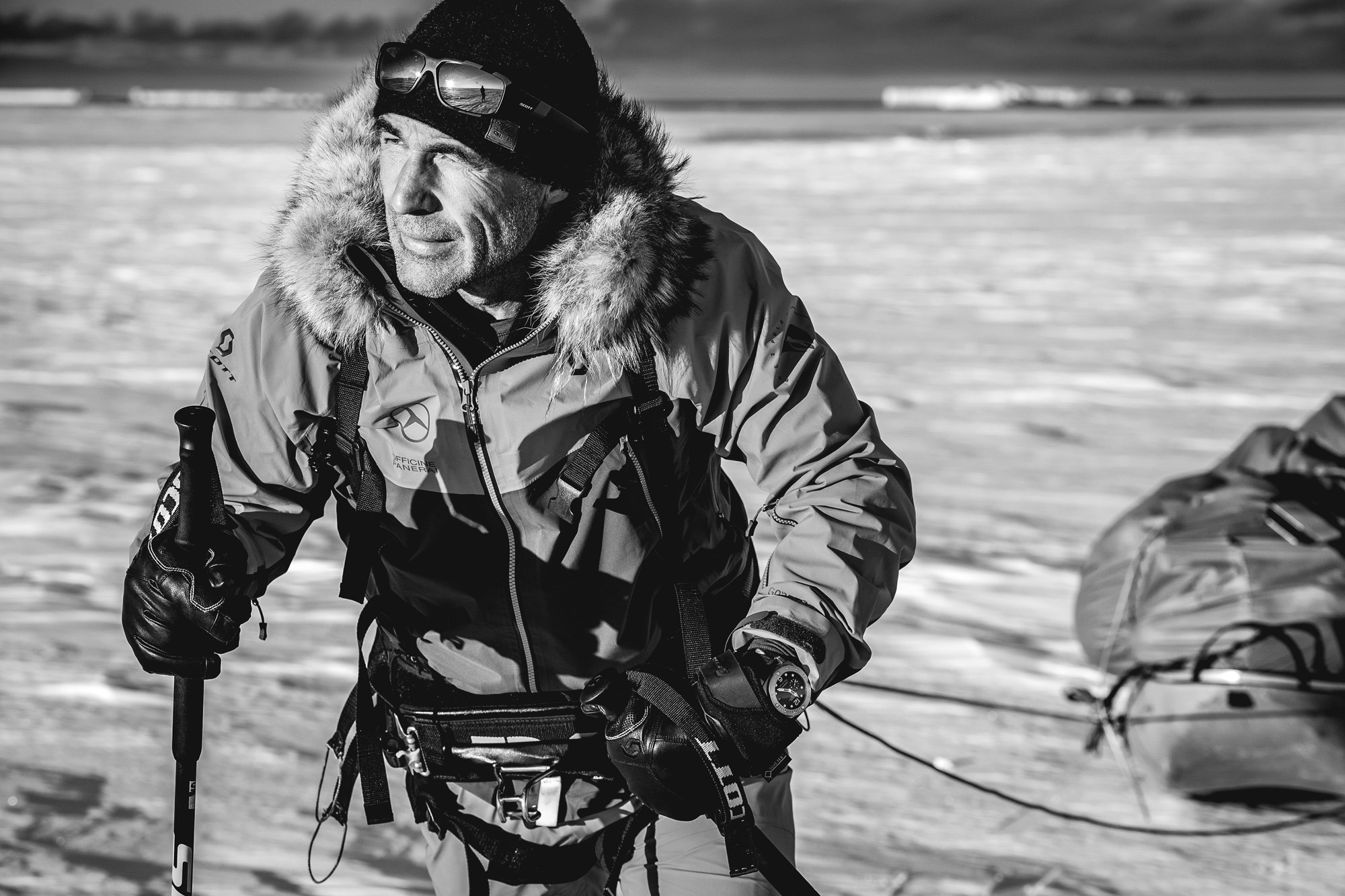 POLE2POLE expedition. Pangaea sailing in Antarctica.Mike getting ready for his Antarctica expedition. Mike started his crossing. Dronning maud land. Kameneva bukta ( buhta). Panerai watch .
