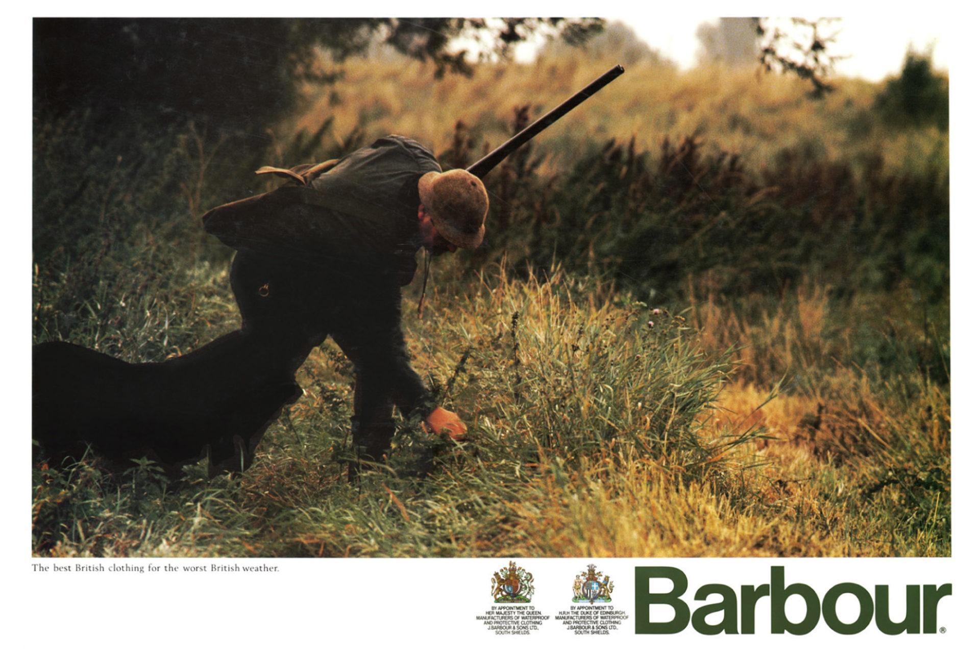 Publicité Barbour avec deux Royal Warrants