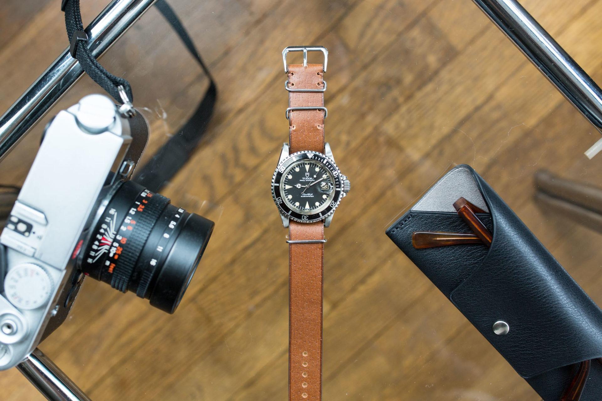 Joseph Bonnie - Bracelet de Montre Nato en cuir vintage des Tanneries Gal - Couleur Café