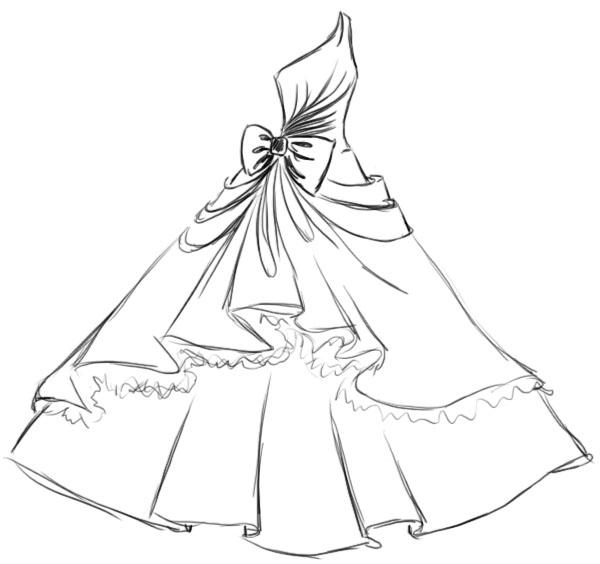Як намалювати пишне бальне плаття