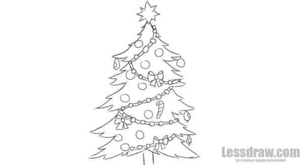 Как нарисовать новогоднюю елку | Lessdraw