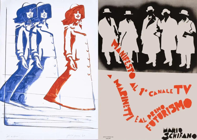 Mario Schifano. Manifesto al 1 canale TV. A Marinetti e al primo Futurismo,1967, 96x68 Fioroni Giosetta, Gli involucri, 1967, smalto industriale su carta, cm 100×70