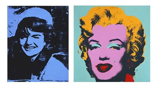 A sinistra: Andy Warhol: Jackie 1964 © awf; image courtesy of the Andy Warhol Museum. A destra: Andy Warhol: Marilyn 1967 © awf; courtesy of the Mori Art Museum