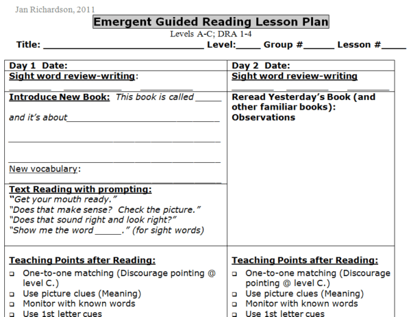 Guided Reading Templates For Emergent Early Transitional And Fluent Readers LessonPick