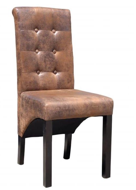 chaise vintage simili cuir marron vieilli et pieds pin massif barielle lot de 2