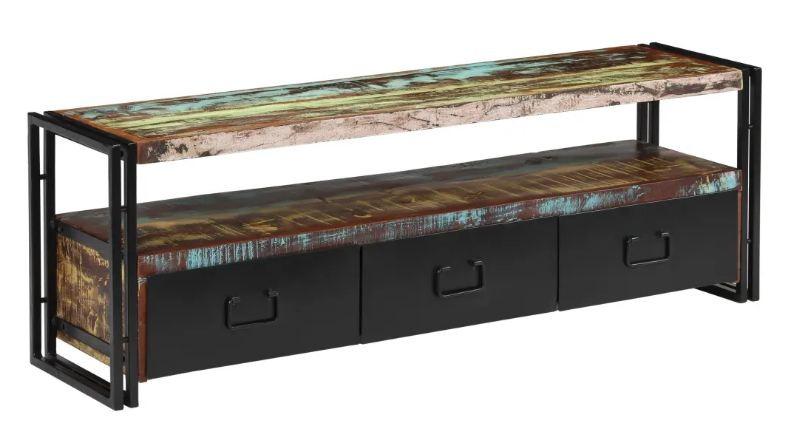 meuble tv 3 tiroirs bois massif recycle et metal noir mista