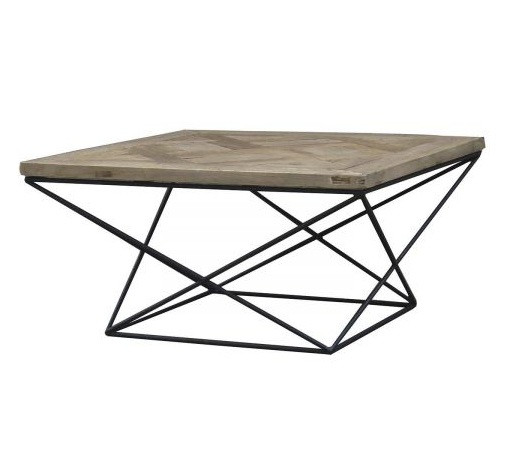 table basse carree bois d orme recycle et fer noir ponke