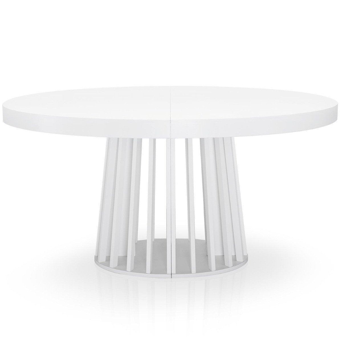 table ronde extensible bois blanc ritchi 150 300 cm