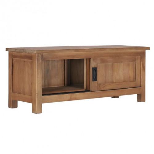 meuble tv 2 portes coulissantes teck massif fonce roeta 90 cm