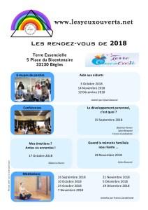 Planning Les Yeux Ouverts 2018
