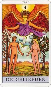 Tarotkaart 05 De Geliefden 4 grote Arcana De Tarot in de herstelde orde