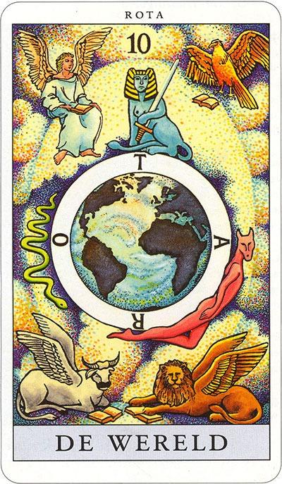 Tarotkaart 12 De Wereld 10 grote Arcana De Tarot in de herstelde orde