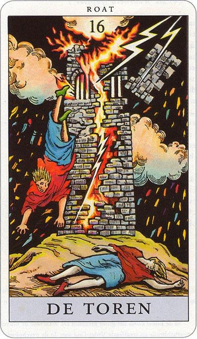 Tarotkaart 19 De Toren 16 grote Arcana De Tarot in de herstelde orde