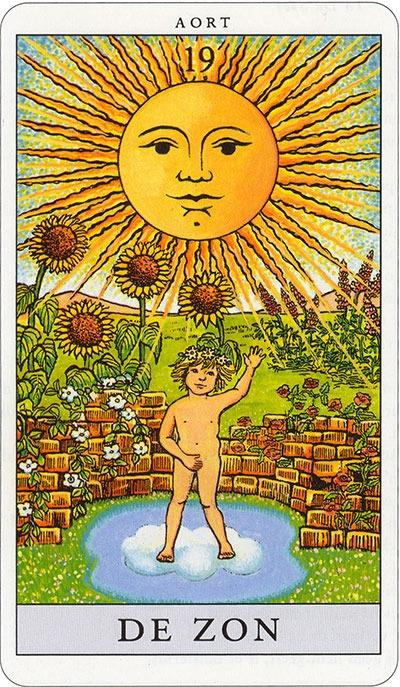 Tarotkaart 22 De Zon 19 grote Arcana De Tarot in de herstelde orde