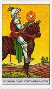 Tarotkaart 27 Pentagrammen Ridder Hofkaart Munten Pentakels of Schijven
