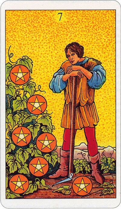 Tarotkaart 35 Pentagrammen 7 Zeven Munten Pentakels of Schijven