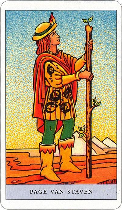 Tarotkaart 42 Staven Page Schildknaap Hofkaart Stokken Scepters Knotsen of Batons