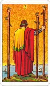 Tarotkaart 45 Staven 3 Drie Stokken Scepters Knotsen of Batons