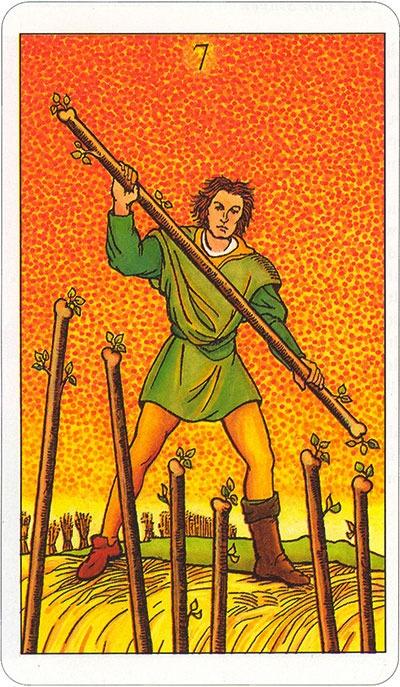 Tarotkaart 49 Staven 7 Zeven Stokken Scepters Knotsen of Batons