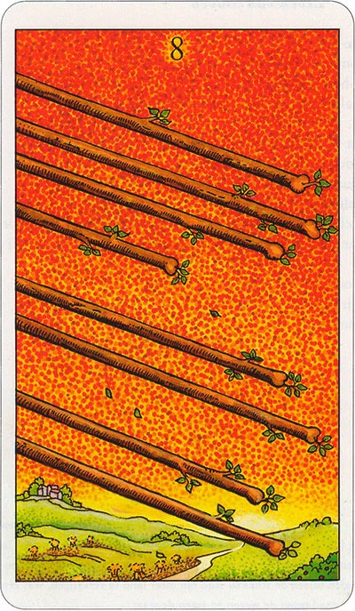 Tarotkaart 50 Staven 8 Acht Stokken Scepters of Batons