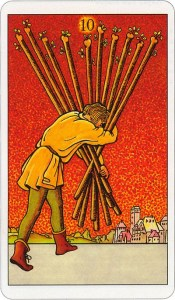 Tarotkaart 52 Staven 10 Tien Stokken Scepters Knotsen of Batons