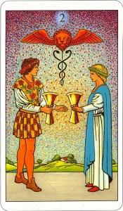 Tarotkaart 58 Bekers 2 Twee