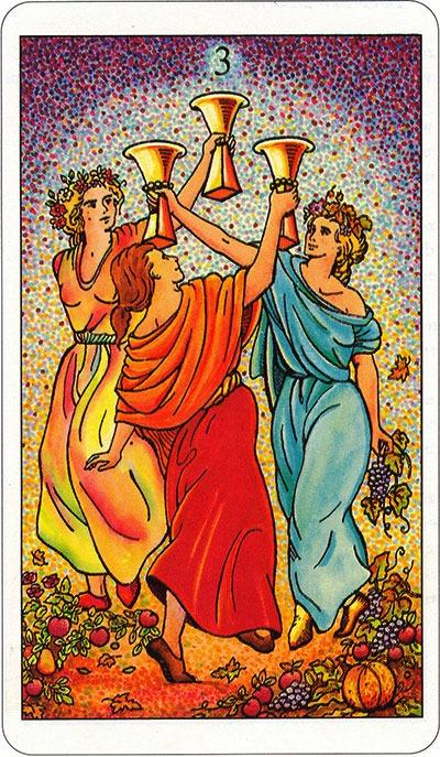 Tarotkaart 59 Bekers 3 Drie
