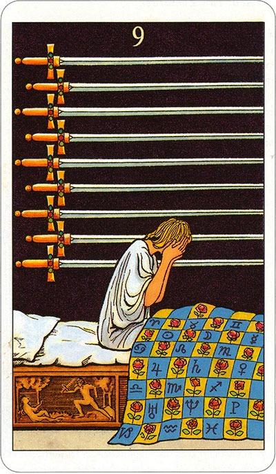 Tarotkaart 79 Zwaarden 09 Negen