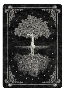 achterkant tarotkaart zwaart boom