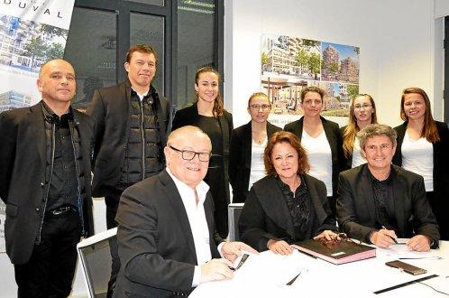 Autour de Nathalie Azaïs, Roland Beaumanoir et Yves Fantou, lors de la signature du partenariat.