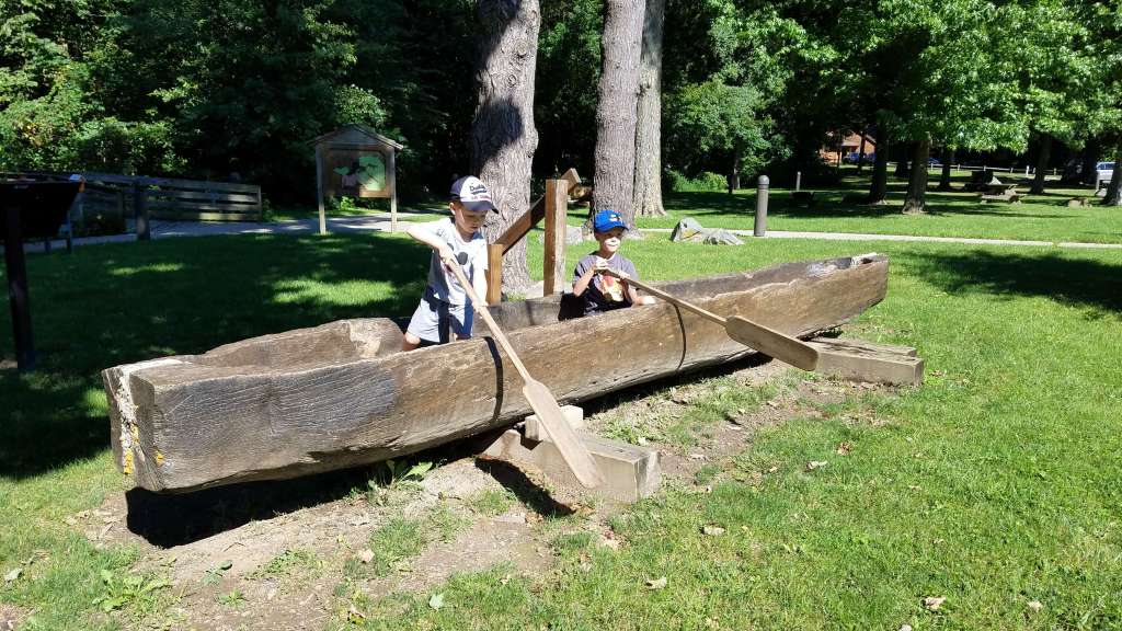 Dugout wooden canoe at Mounds State Park