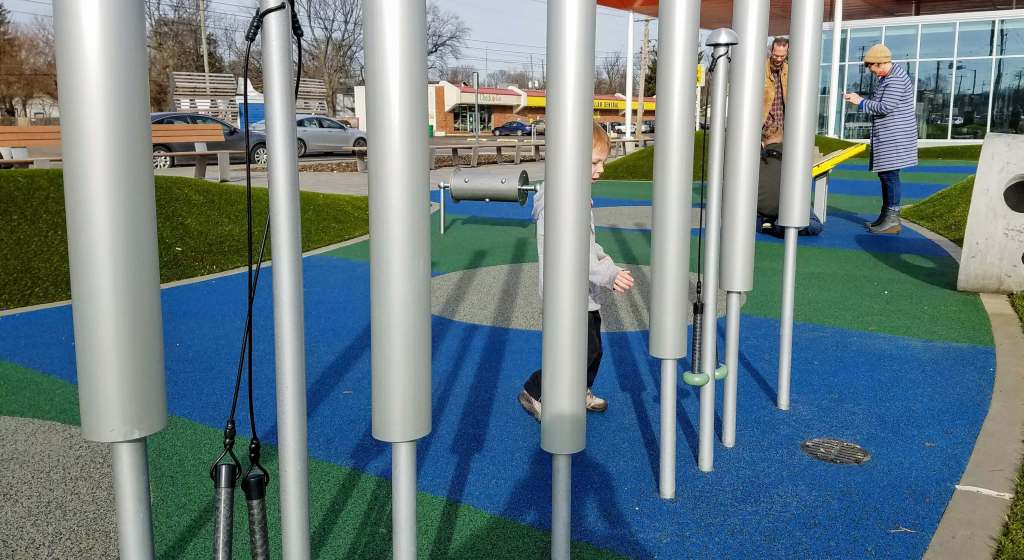 Tarkington Park playground music elements in Midtown Indianapolis
