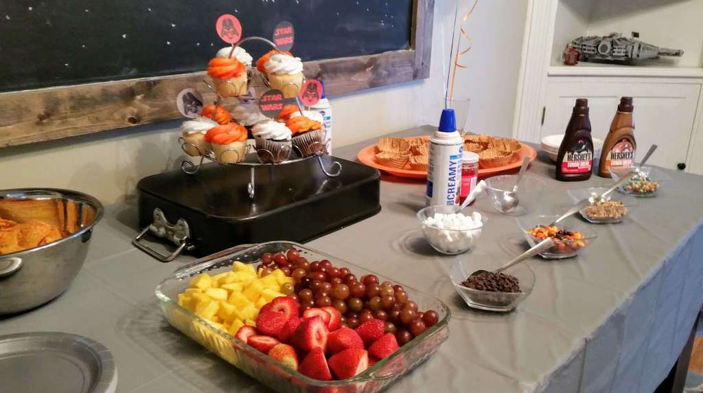 Arrange no cook foods for a birthday party buffet