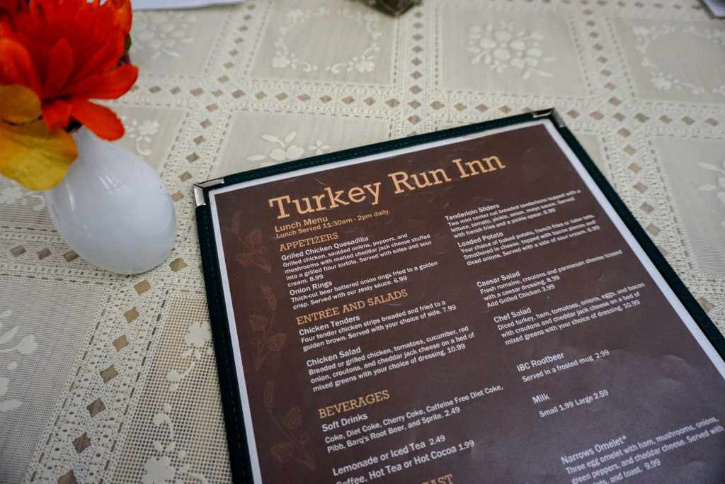 Turkey Run Inn Narrows Restaurant Menu Lunch